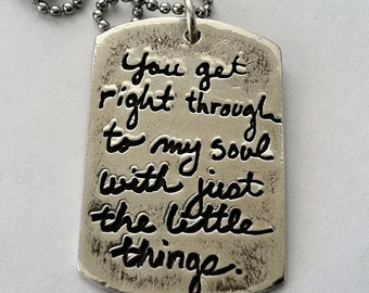 Double Sided Engraved Dog Tag Your Own Message & In your Own Writing -Silver dogtag jewelry or key fob
