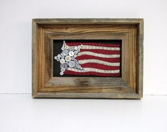 USA Patriotic Flag, Buttons for Stars, Folk Art American Flag, Framed in Reclaimed Barn Wood, Primitive American Flag, American Folk Art