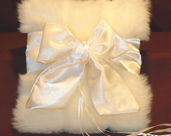 Ivory Ring Bearer Pillow Wedding faux fur Bridal Pillow