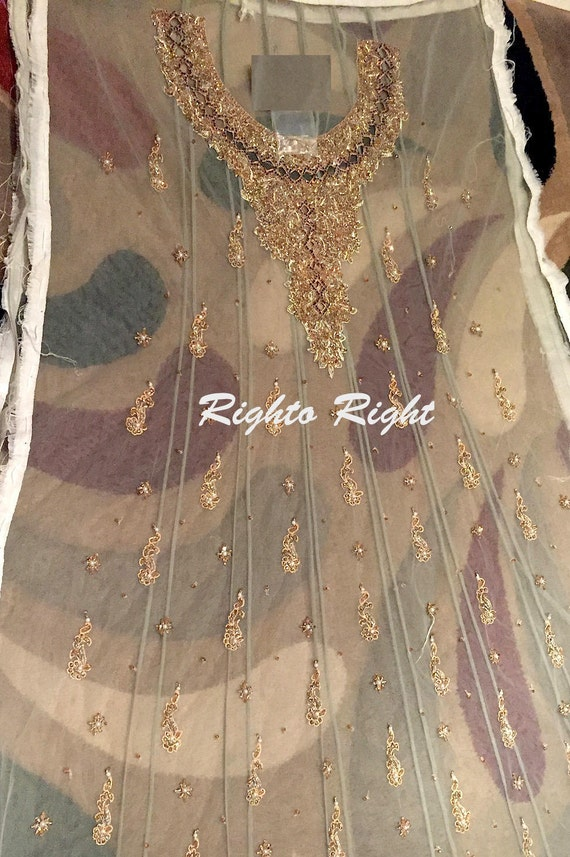 Dress Custom Beaded Heavily Net Party Kameez Wedding Embroidered Anarkali Pakistani Wear Salwar AqFP15xwv