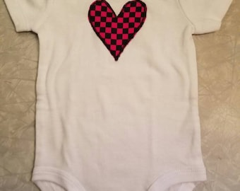 Checkered heart black and pink S/S onesie