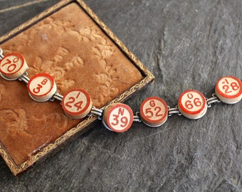Bingo Bracelet Vintage wooden calling numbers game parts pieces toys jewelry teacher gift retro recycled up cycled assemblage steampunk