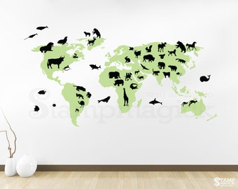 World map wall decal countries united states map canada world map wall decal with animals world map decal vinyl wall art mural chalkboard gumiabroncs Image collections
