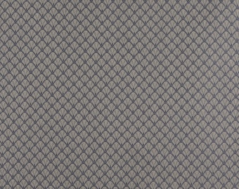 Blue And Beige Small Scale Shell Jacquard Woven Upholstery Fabric By The Yard | Pattern # D352