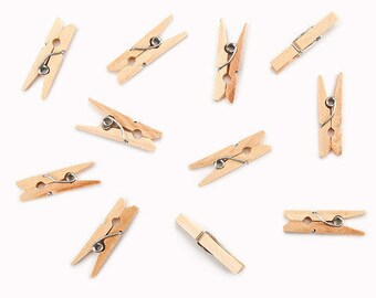 Mini Spring Clothespins - Natural - 1 inch - 50 pieces,Unfinished Wood,Craft Supplies,Natural Wood,Summer Camp Supplies