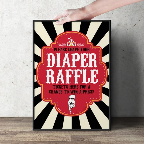 Diaper Raffle Sign Vintage Circus Printable File