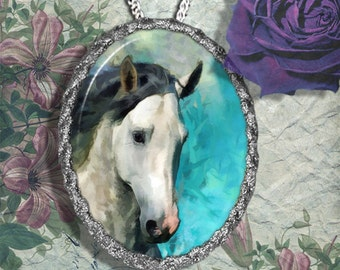 Andalusian Horse Jewelry Pendant Necklace Handcrafted Ceramic