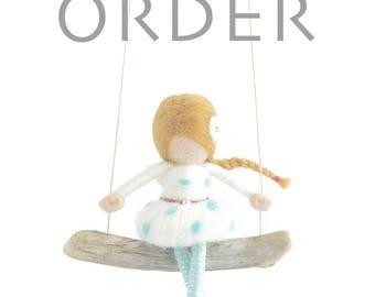CUSTOM ORDER - Needle Felted Fairy Doll (polka dot)