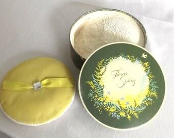 Vintage Avon Talc - Forever Spring Dusting Powder w Yellow Powder Puff - 1940s Powder Box - Perfumed Talc - Vanity Jar - Gift for Her -