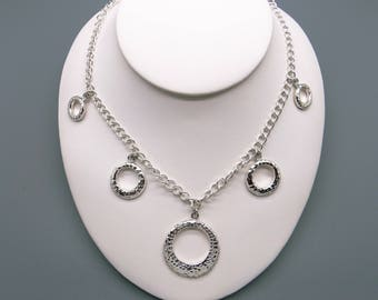 """Handmade Sterling Silver Hammered Circle Link Chain Adjustable Toggle Necklace 16"""" to 18"""""""