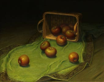 Still Life with Apples. Original oil painting. Oil painting on canvas. Framed oil painting