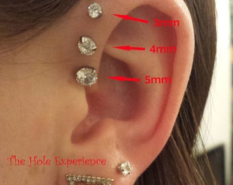 Forward Helix Earring, Tragus, Cartilage, Earring, 3 Prong Set CZ,  16g 6mm, Triple forward Helix, Triple Cartilage Piercing