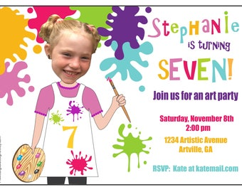 Art Party Invitation, Custom Photo Paint Party, Girl or Boy Paint Party, Childs Art Party, Paint Birthday Party, PicMeDigitalDesigns