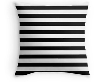 Black and White Stripe Pillow, Black White Decorative Pillow, Black Pillow, Black and White Stripe Toss Pillow, Black and White Decor, Black