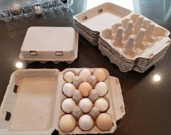 10 Vintage Egg Cartons - Blank top - 4x3 Carton holds 12 or Dozen Eggs