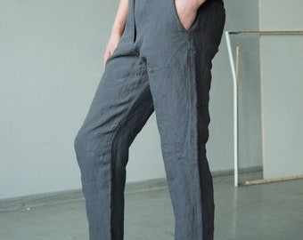 Dark grey linen classic pants with pockets, tailored trousers, straight women pants, business pants, organic linen pants, women trousers
