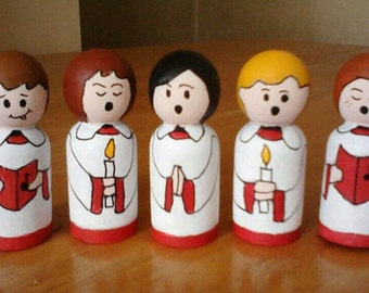 Christmas decorations wooden peg doll, Christmas choir decor Christmas mantle decoration, 1st Christmas decoration, new home decoration