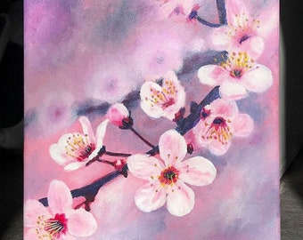 Cherry Blossoms pink original acrylic painting