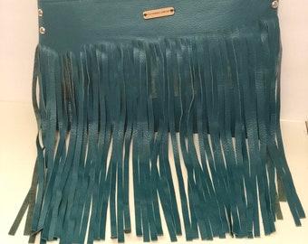 Leather Turquoise Fringe Handbag