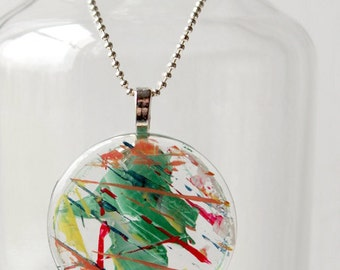 Hand Painted Abstract Round Glass Necklace