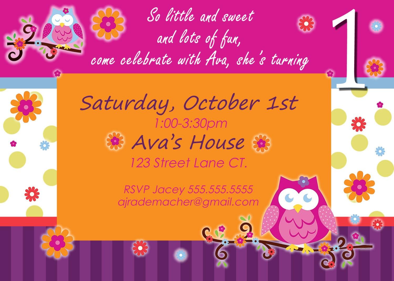 Owl birthday invite owl invitation owl invite Owl Blossom