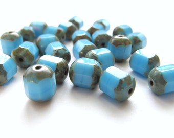 Opaque Sky Blue Turquoise Antique Style Octagonal Glass Lantern Beads with Picasso Finish, 8mm x 6mm - 25 pieces