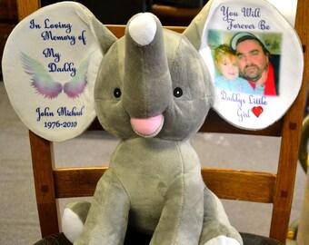 "Personalized 12"" Cubbie, Memorial Dumble, In Memory Dumble, Elephant, Memory Bear, Memorial Keepsake, Loss, Elephants Never Forget"