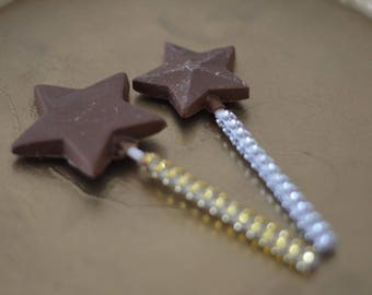 Chocolate Star Wand Lollipops x10