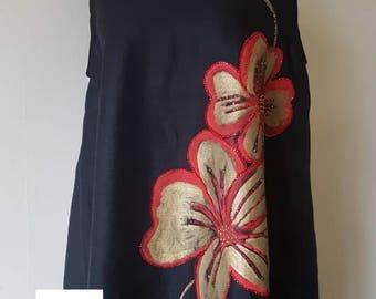 Handpainted Linen Maxi Dress