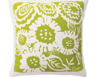 Decorative Pillow, Green, Sunflower Design, 20x20, Hand screened on Cotton Bark Cloth