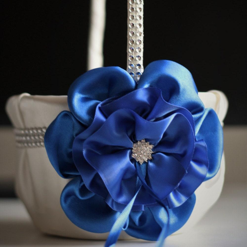 Blue Flower Girl Basket Ivory Blue Wedding Basket Cobalt