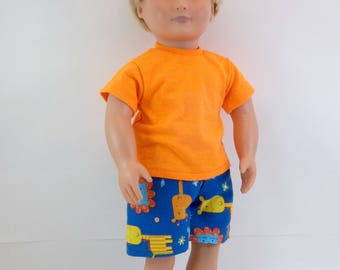 """Swimsuit or Shorts for 18"""" Boy Doll Blue Circus Animals Fits American Girl Doll"""