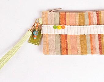 Stripe & Burlap Wristlet Clutch