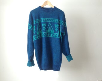 SOUTHWEST 90s bright IKAT style navajo SWEATER slouchy top
