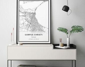 Corpus Christi map print | Scandinavian wall art poster | City maps Artwork | Texas gifts | Wall Art And Prints | M58