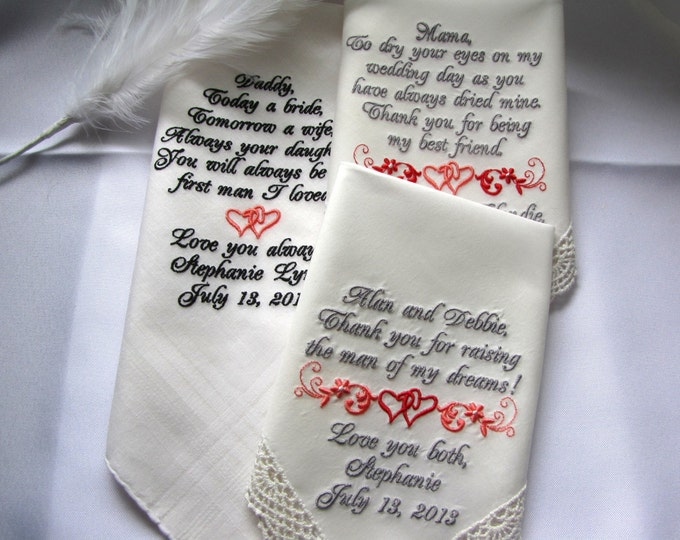 Set of 3 Custom Embroidered Wedding Handkerchiefs White or Ivory, Mother of the Bride Gift, Mother of the Groom gift, Father gifts