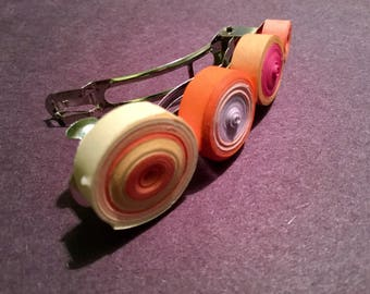 Quilled barrettes, multicolor, fun, playful accessory, quilled circles