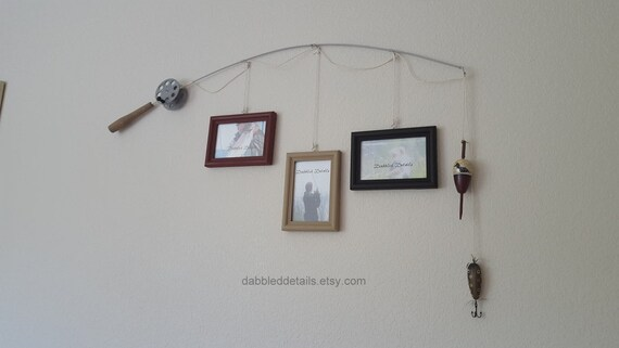 Fishing Pole Picture Frame - Silver Pole - 3 - 4 in x 6 in Picture Frames - Rookwood Red, Khaki Tan, Black