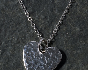 Sterling Silver Hammered Heart Necklace Pendant Charm Handmade chain