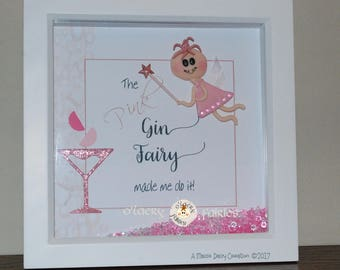 The Pink Gin Fairy - Birthday Gift - Shadow Box Picture Frame