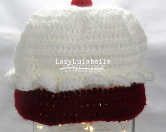 Frosted Cupcake Crocheted Novelty Hat