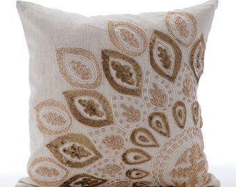 Natural Beige Pillow Covers Decorative Bed Pillows 20x20 Pillow Covers Linen Embroidered Pillows - Gold Charm