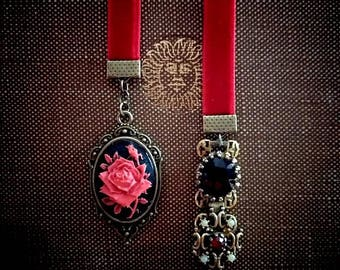 Rose Cameo Velvet Bookmark with Jewels