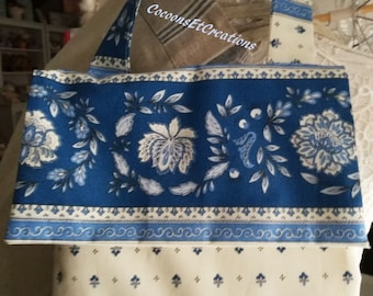 Provencal blue and white bread bag. Handmade, made in France