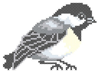 Chickadee counted cross-stitch chart