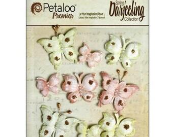 Set of 9 stickers butterflies green, Brown Petaloo scrapbooking embellishment *.