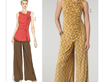 Vogue Pattern V1452 - Today's Fit by SANDRA BETZINA - Misses' Fitted Side Gathered Top & Wide Leg Pull-On Pants - All Sizes/Bust 32-55