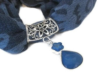 Blue Scarf Pendant - Scarf Jewelry Slide - Scarf Necklace - Scarf Pendant Bail Charm