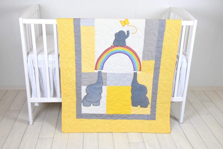 Yellow Gray Baby Blanket Elephant And Rainbow Crib Quilt