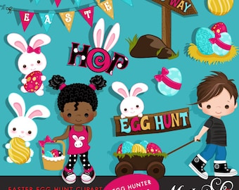 Easter Egg Hunt Clipart with Cute Characters and Easter Bunny. Bunting banner, scavenger hunt, Easter hop, characters, african american.